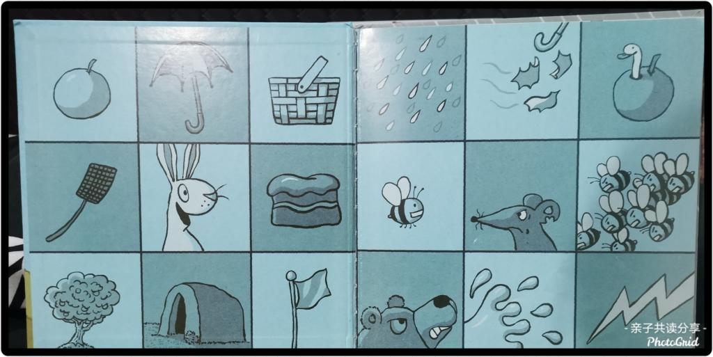 绘本的蝴蝶页其实也是故事的内容概括呢,每一种图都象征着一个个好消息和坏消息。