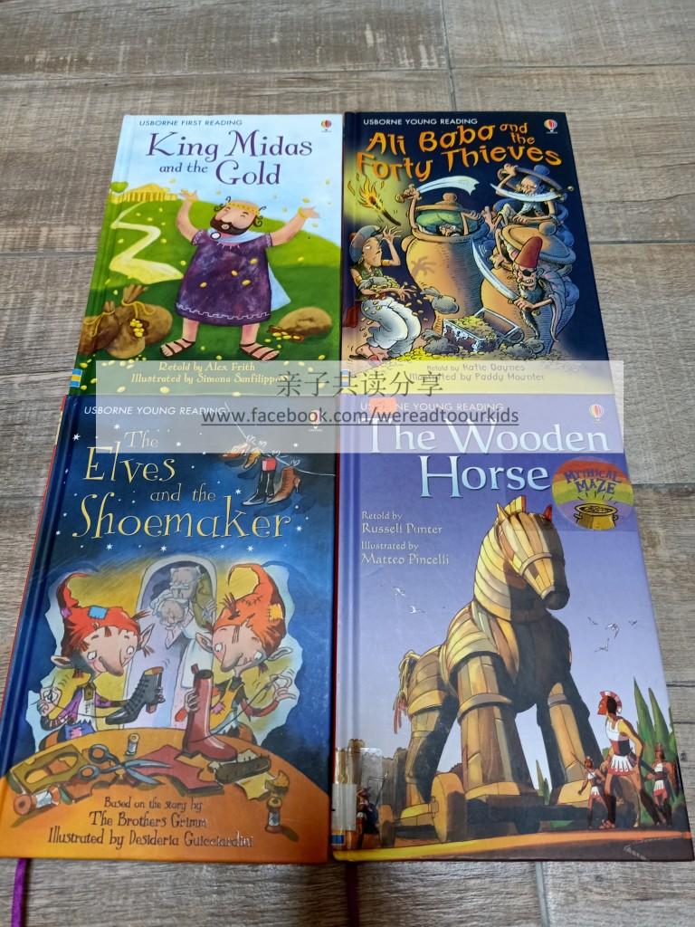Usborne First Reading是专为刚开始独立阅读的学前孩子所编写的。King Midas and the Gold的神话故事经过精心编写,可以用200个单字讲完。书本最后还附上一两个有趣的小测试,比First Reading更简单的Very First Reading, 多多很喜欢的有《A Fright in the Night>》和《The Monster Diner》。