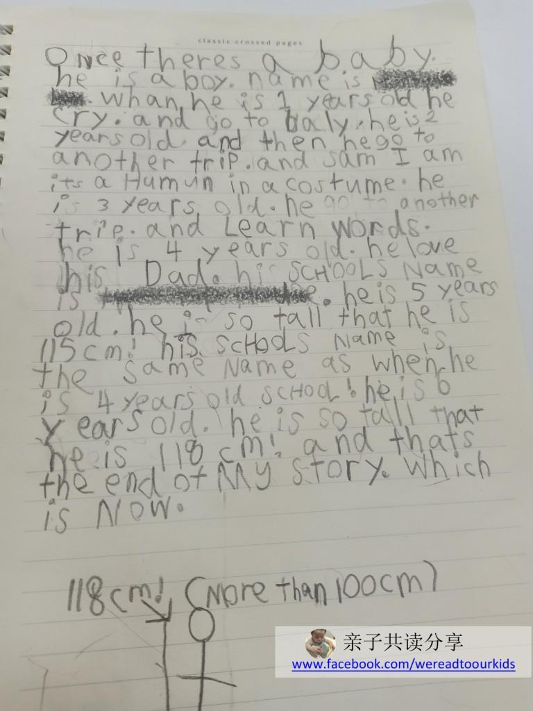 一年半前在幼儿园还是个跟不上同学识字能力的孩子,两星期前在没有老师的指导下,独自写了图中这篇短文。虽然拼写、语法都有误,中间还脱序地穿插一句Green Eggs and Ham的角色介绍,对身高无由来的重视,但7岁孩子洋洋洒洒一篇文章,表面上的字数就够唬人了。